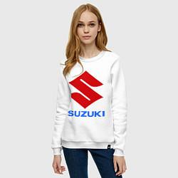 Свитшот хлопковый женский Suzuki цвета белый — фото 2