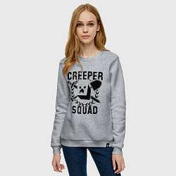 Свитшот хлопковый женский Creeper Squad цвета меланж — фото 2