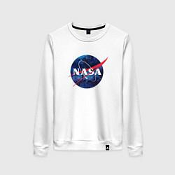 Свитшот хлопковый женский NASA: Cosmic Logo цвета белый — фото 1