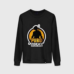 Свитшот хлопковый женский PUBG Top 1 цвета черный — фото 1
