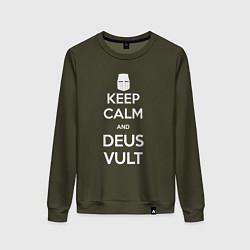 Женский хлопковый свитшот с принтом Keep Calm & Deus Vult, цвет: хаки, артикул: 10144654505317 — фото 1