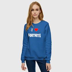Свитшот хлопковый женский I love Fortnite цвета синий — фото 2
