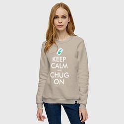 Свитшот хлопковый женский Keep Calm & Chug on цвета миндальный — фото 2