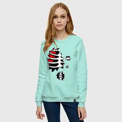 Свитшот хлопковый женский Зомби-скелет цвета мятный — фото 2