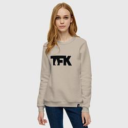 Свитшот хлопковый женский TFK: Black Logo цвета миндальный — фото 2