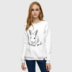 Свитшот хлопковый женский Rabbit: follow me цвета белый — фото 2