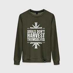 Свитшот хлопковый женский Harvest Themselves цвета хаки — фото 1