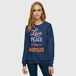 Свитшот хлопковый женский Love peace the Beatles цвета тёмно-синий — фото 2