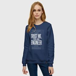 Свитшот хлопковый женский I'm an Engineer цвета тёмно-синий — фото 2
