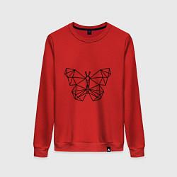Свитшот хлопковый женский Полигональная бабочка цвета красный — фото 1