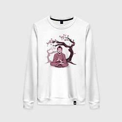 Свитшот хлопковый женский Будда Сакура цвета белый — фото 1