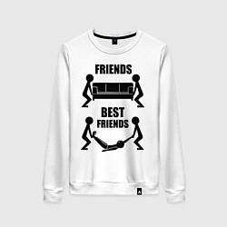 Свитшот хлопковый женский Best friends цвета белый — фото 1