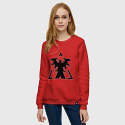 Свитшот хлопковый женский Старкрафт Терраны цвета красный — фото 2