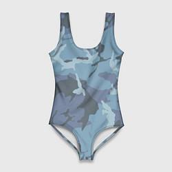 Купальник-боди 3D женский Камуфляж: голубой/синий цвета 3D — фото 1