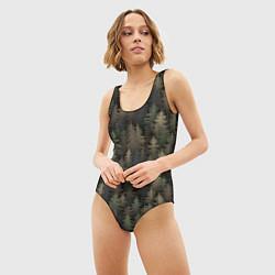 Купальник-боди 3D женский Лесной камуфляж цвета 3D — фото 2