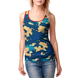 Майка-безрукавка женская Камуфляж: голубой/желтый цвета 3D-красный — фото 2