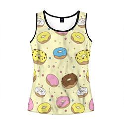 Майка-безрукавка женская Сладкие пончики цвета 3D-черный — фото 1