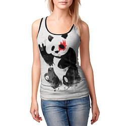 Майка-безрукавка женская Рок-панда цвета 3D-черный — фото 2