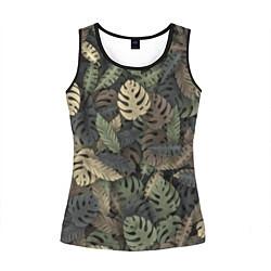 Майка-безрукавка женская Тропический камуфляж цвета 3D-черный — фото 1