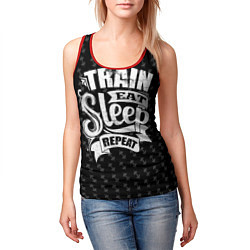 Майка-безрукавка женская Train Eat Sleep Repeat цвета 3D-красный — фото 2