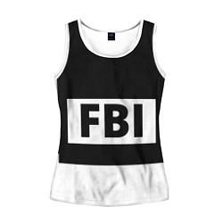 Майка-безрукавка женская Бронежилет FBI цвета 3D-белый — фото 1