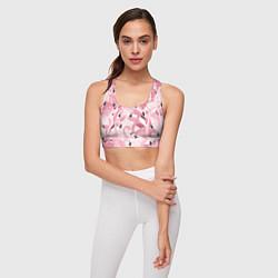 Топик спортивный женский Розовый фламинго цвета 3D-принт — фото 2