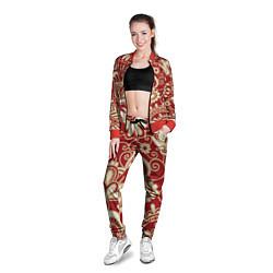 Олимпийка женская Хохломская роспись цвета 3D-красный — фото 2
