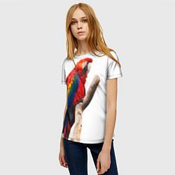 Женская 3D-футболка с принтом Яркий попугай, цвет: 3D, артикул: 10105058003229 — фото 2
