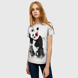 Футболка женская Рок-панда цвета 3D — фото 2