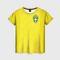 Футболка женская Сборная Швеции: Домашняя ЧМ-2018 цвета 3D-принт — фото 1