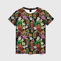 Женская 3D-футболка с принтом Попугаи в цветах, цвет: 3D, артикул: 10065276503229 — фото 1