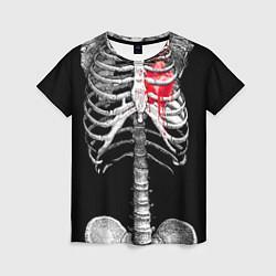 Футболка женская Скелет с сердцем цвета 3D — фото 1