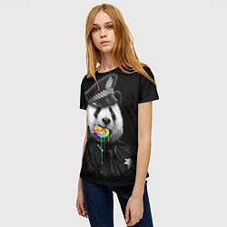 Футболка женская Панда с карамелью цвета 3D — фото 2