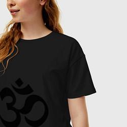 Футболка оверсайз женская ОМ-Йога цвета черный — фото 2