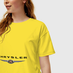 Футболка оверсайз женская Chrysler logo цвета желтый — фото 2