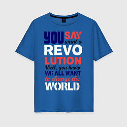 Футболка оверсайз женская The Beatles Revolution цвета синий — фото 1
