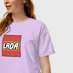Футболка оверсайз женская LADA LEGO цвета лаванда — фото 2