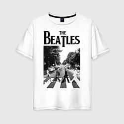 Футболка оверсайз женская The Beatles: Mono Abbey Road цвета белый — фото 1