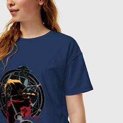 Футболка оверсайз женская Стальной алхимик цвета тёмно-синий — фото 2