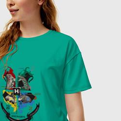 Футболка оверсайз женская Гарри Поттер цвета зеленый — фото 2