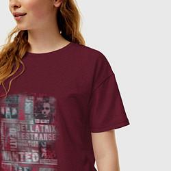 Футболка оверсайз женская Гарри Поттер цвета меланж-бордовый — фото 2