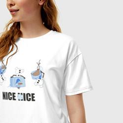 Футболка оверсайз женская Olaf: Nice Ice цвета белый — фото 2
