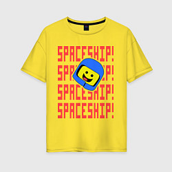 Футболка оверсайз женская Spaceship цвета желтый — фото 1