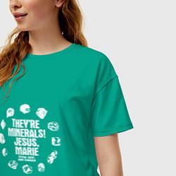 Футболка оверсайз женская Это минералы! цвета зеленый — фото 2