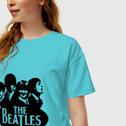 Футболка оверсайз женская The Beatles Band цвета бирюзовый — фото 2