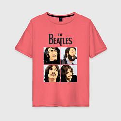 Футболка оверсайз женская The Beatles Stories цвета коралловый — фото 1