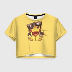 Футболка 3D укороченная женская Pikachu цвета 3D-принт — фото 1
