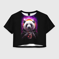 Футболка 3D укороченная женская Panda Cosmonaut цвета 3D — фото 1