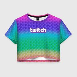 Футболка 3D укороченная женская Rainbow Twitch цвета 3D — фото 1