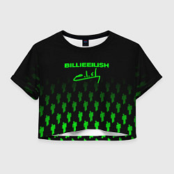 Футболка 3D укороченная женская Billie Eilish: Green & Black Autograph цвета 3D — фото 1